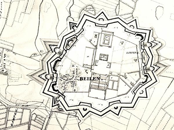 Kaart van Beilen als vestingstad uit 1822